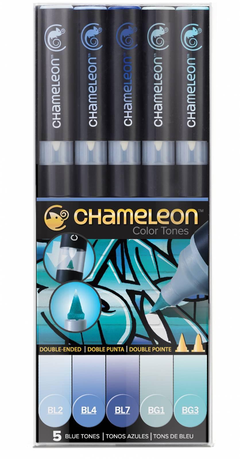 Kit Chameleon 5 canetas - Tons de Azul - Papelaria Botafogo