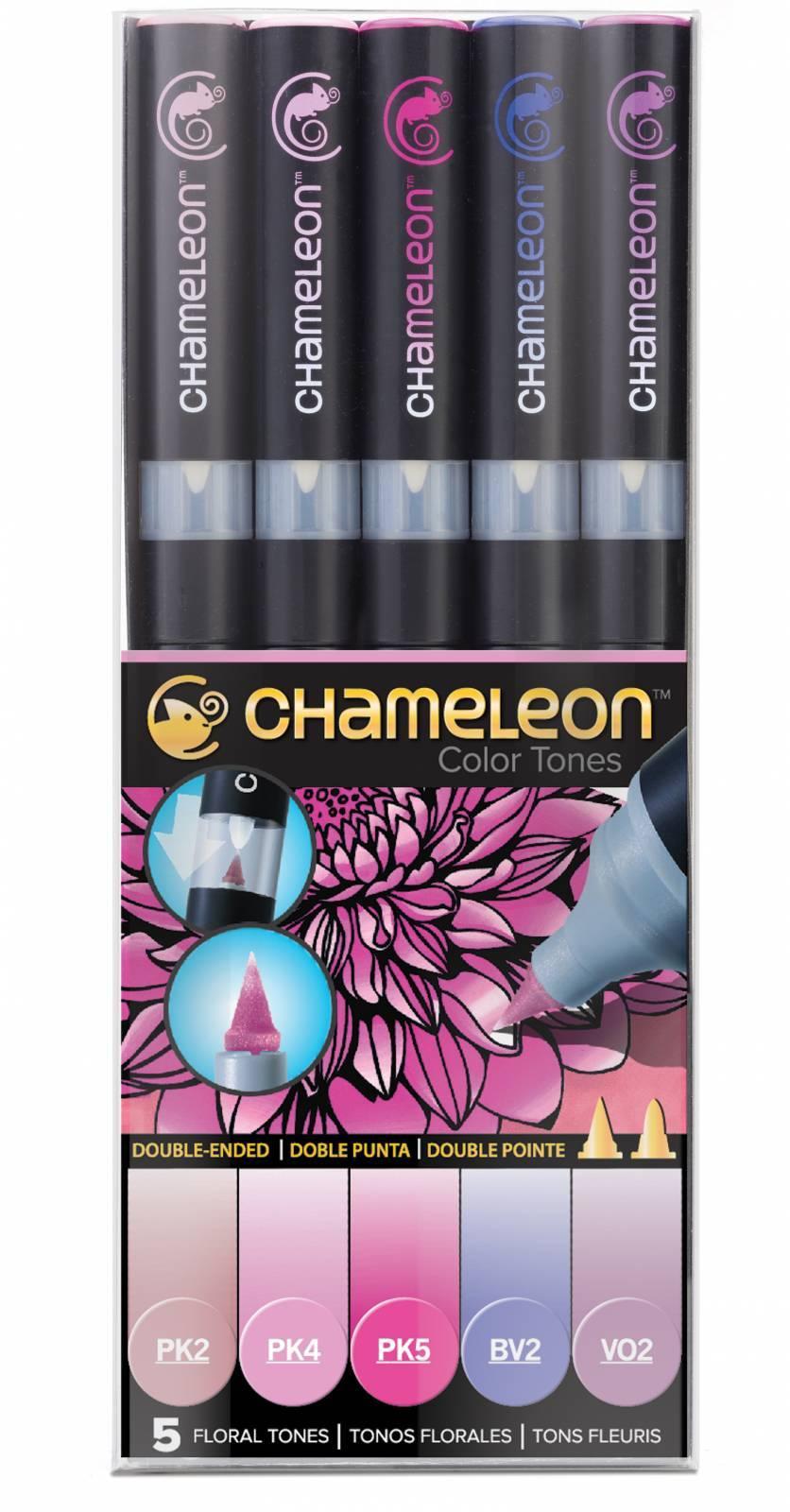 Kit Chameleon 5 canetas - Tons Florais - Papelaria Botafogo