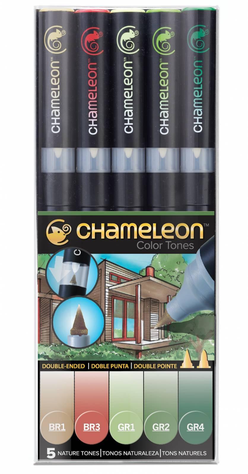 Kit Chameleon 5 canetas - Tons Natureza - Papelaria Botafogo