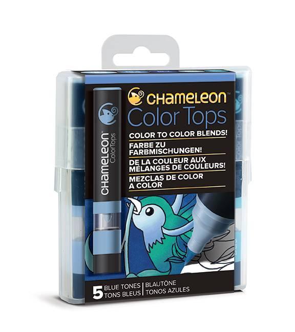 Kit 5 Color Tops Chameleon - Tons de Azul - Papelaria Botafogo