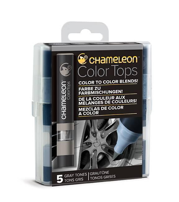 Kit 5 Color Tops Chameleon - Tons de Cinza - Papelaria Botafogo