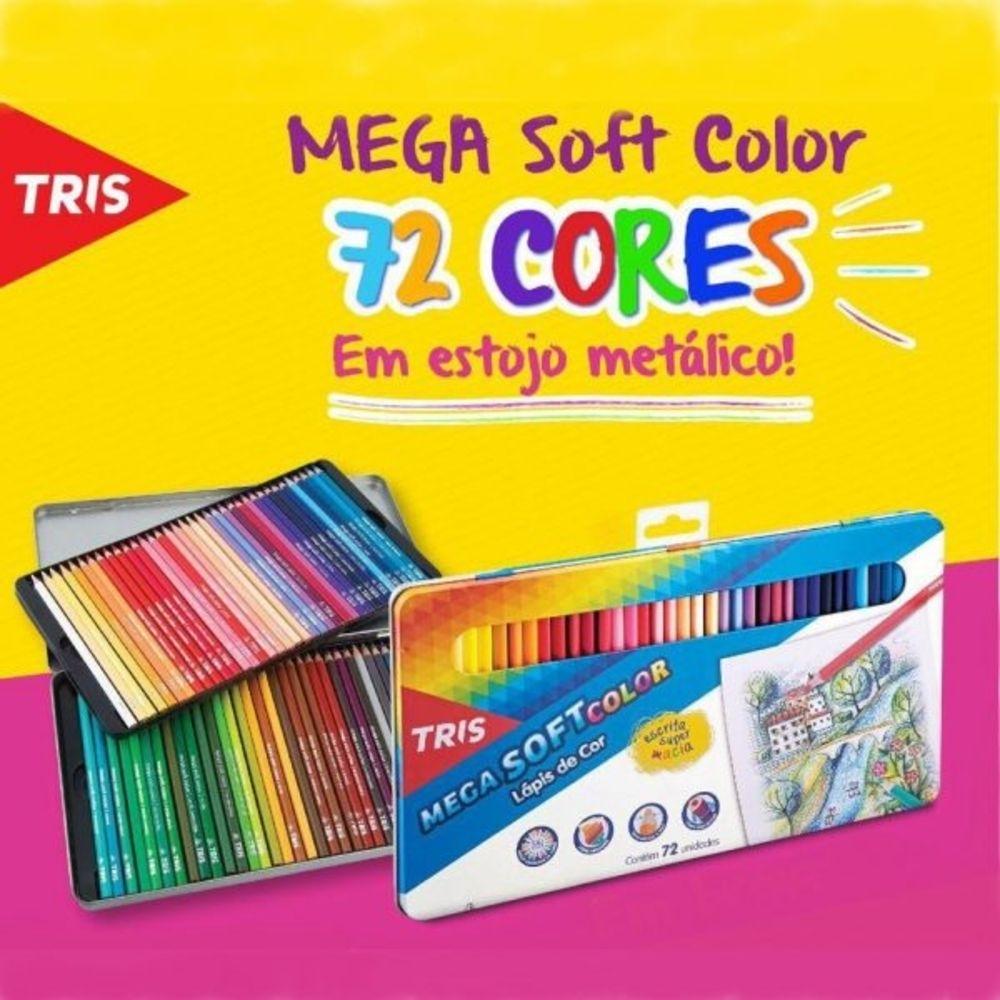 Lápis de Cor Tris Mega Soft Color 72 cores Estojo de Metal - Papelaria Botafogo