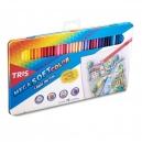 Lápis de Cor Tris Mega Soft Color 72 cores Estojo de Metal