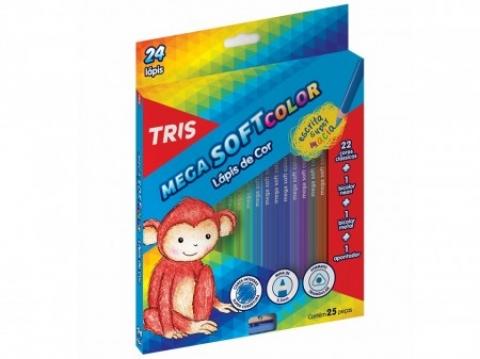 Lápis de Cor Tris Mega Soft Color 24 cores - Papelaria Botafogo