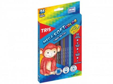 Lápis de Cor Tris Mega Soft Color 36 cores - Papelaria Botafogo