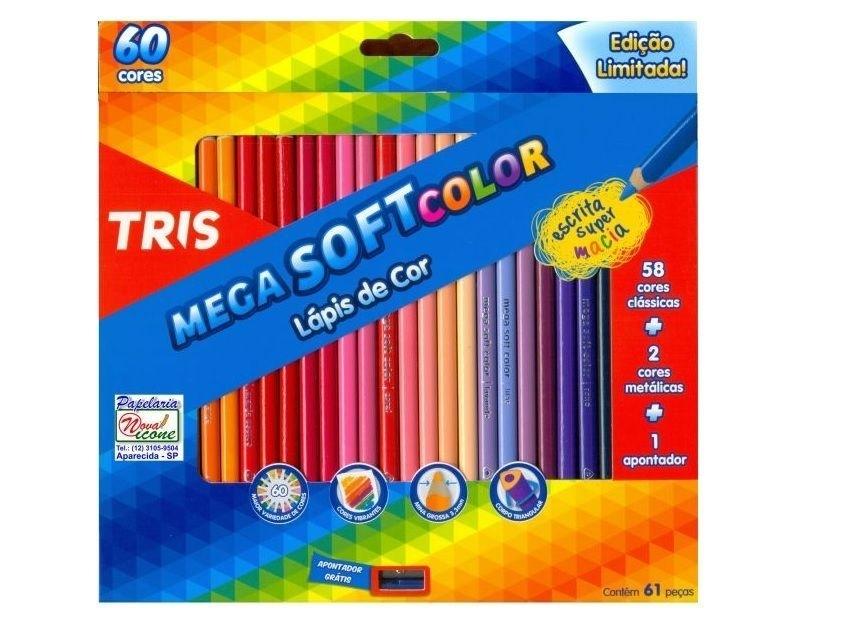 Lápis de Cor Tris Mega Soft Color 60 cores - Papelaria Botafogo