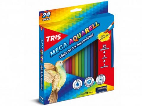 Lápis de Cor Tris Mega Aquarell Color 24 cores - Papelaria Botafogo