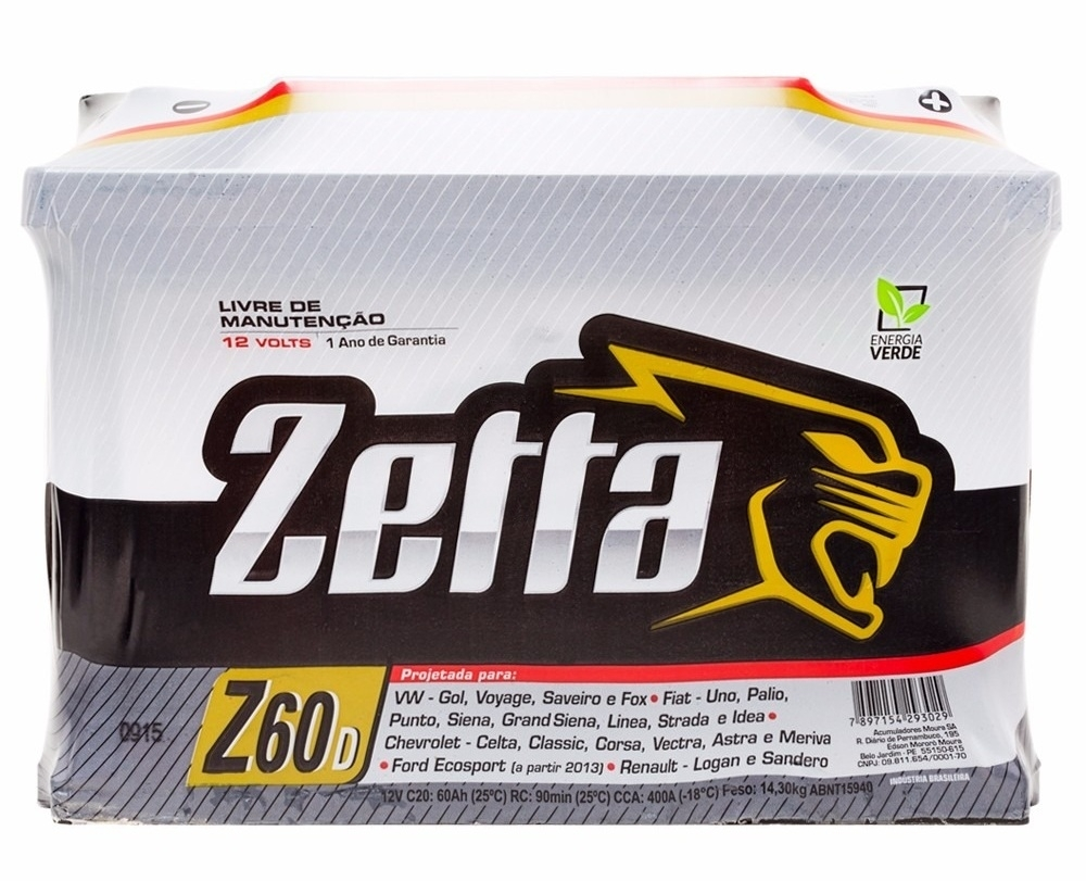 Bateria Zetta 60Ah (Z60D) - Cantele Centro Automotivo