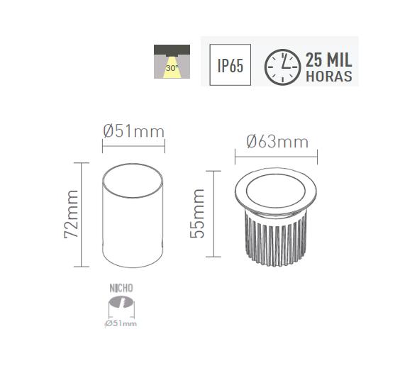 Mini embutido de Piso LED 4W 30o 250 lm 2700K Bivolt- 3927-W - Luz Aqui