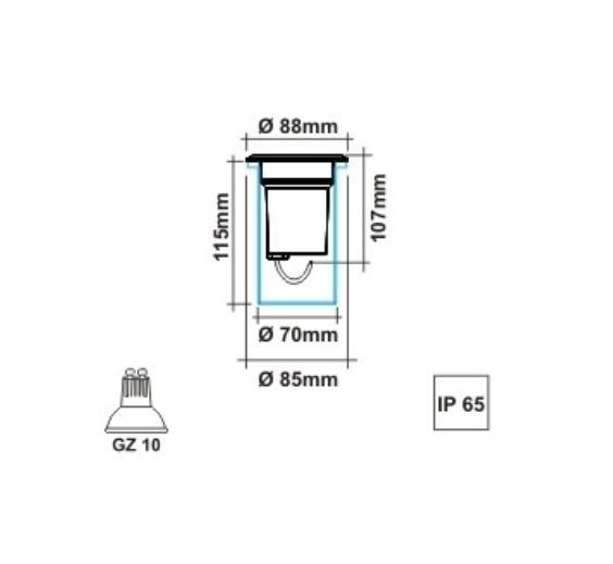 Mini Embutido de Piso para Dicróica GZ10 - IL3563 - Luz Aqui