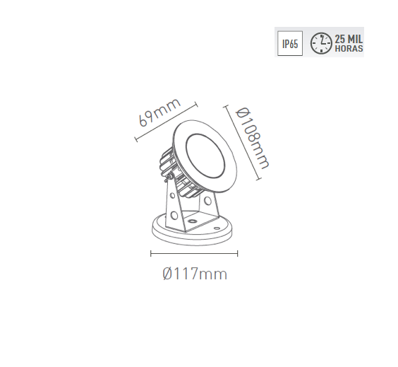 Projetor LED 8W 30o 650lm 2700K Bivolt 3640-AB-S antigo 3620 - Luz Aqui
