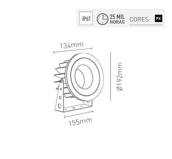Projetor LED 16W 1900lm 2700K Bivolt 3642-MD-S - Luz Aqui