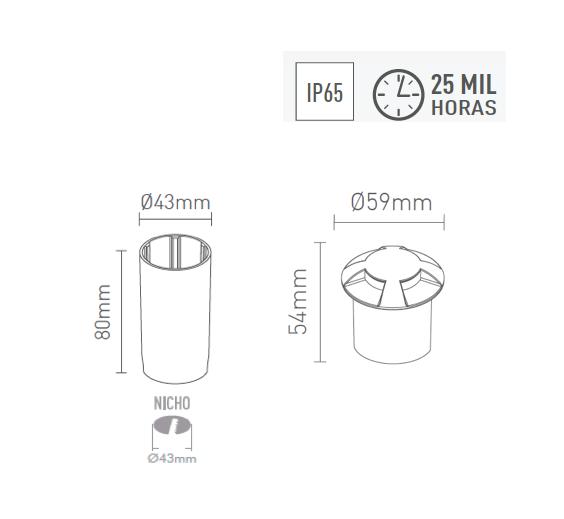 Balizador LED 0,75W 4,2lm 2700K Tampa com 4 saidas - 3923-S - Luz Aqui