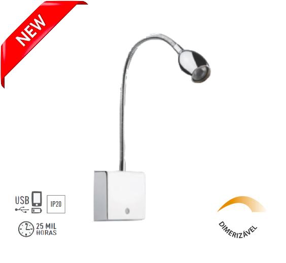 Arandela Leitura LED Flexível c/ USB Touch Dimerizavel - Olive 4145-CROMADA - Luz Aqui