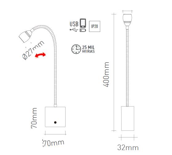 Arandela Leitura LED Flexível c/ USB Touch Dimerizavel - Oli - Luz Aqui