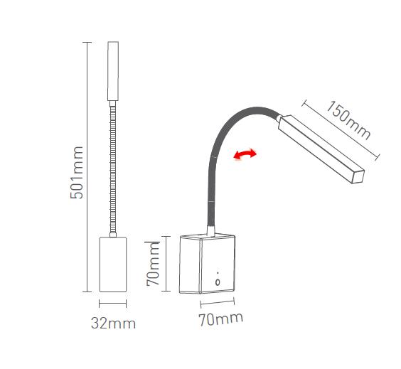Arandela Leitura Led 2W USB Touch Dimerizavel- Snake 4146-WW - Luz Aqui