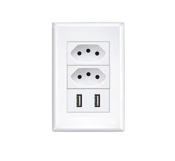 Conjunto 4x2 com 2 Alimentador USB e 2 Tomada 2P+T - Luz Aqui