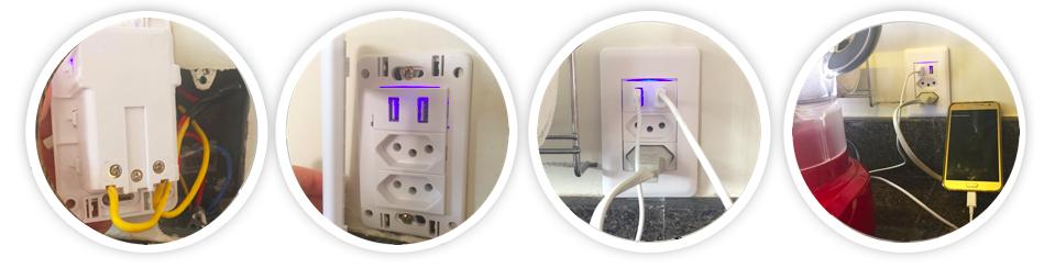 Conjunto 4x2 com 2 Alimentador USB e 1 Tomada 2P+T - Luz Aqui