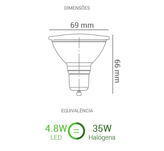 Lâmpada LED AR70 4.8W 24o 2700K 350 lm Bivolt - Luz Aqui