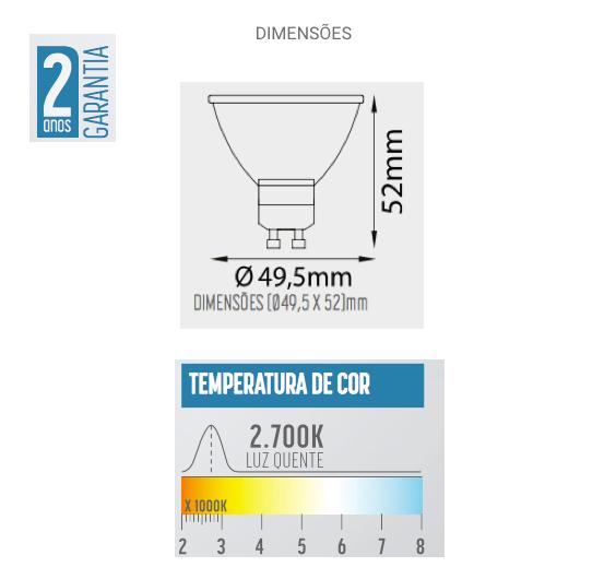 Lâmpada LED Dicróica 5W GU10 450lm 2700K Bivolt - MR1605S2 - Luz Aqui