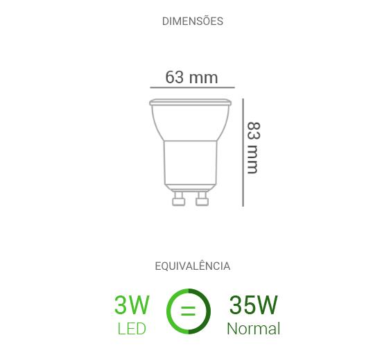 Lâmpada Mini Dicróica LED 3W 210lm 2700K - Dimerizada Bivolt - Luz Aqui