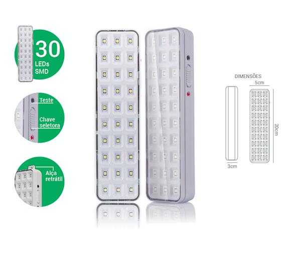 Luminária Emergência 30 Led - ECO 31811 - Luz Aqui