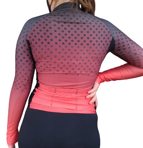 Camisa Ciclismo Feminina Degradê Poá Vermelha Manga Longa - GIRO  - PauliBike