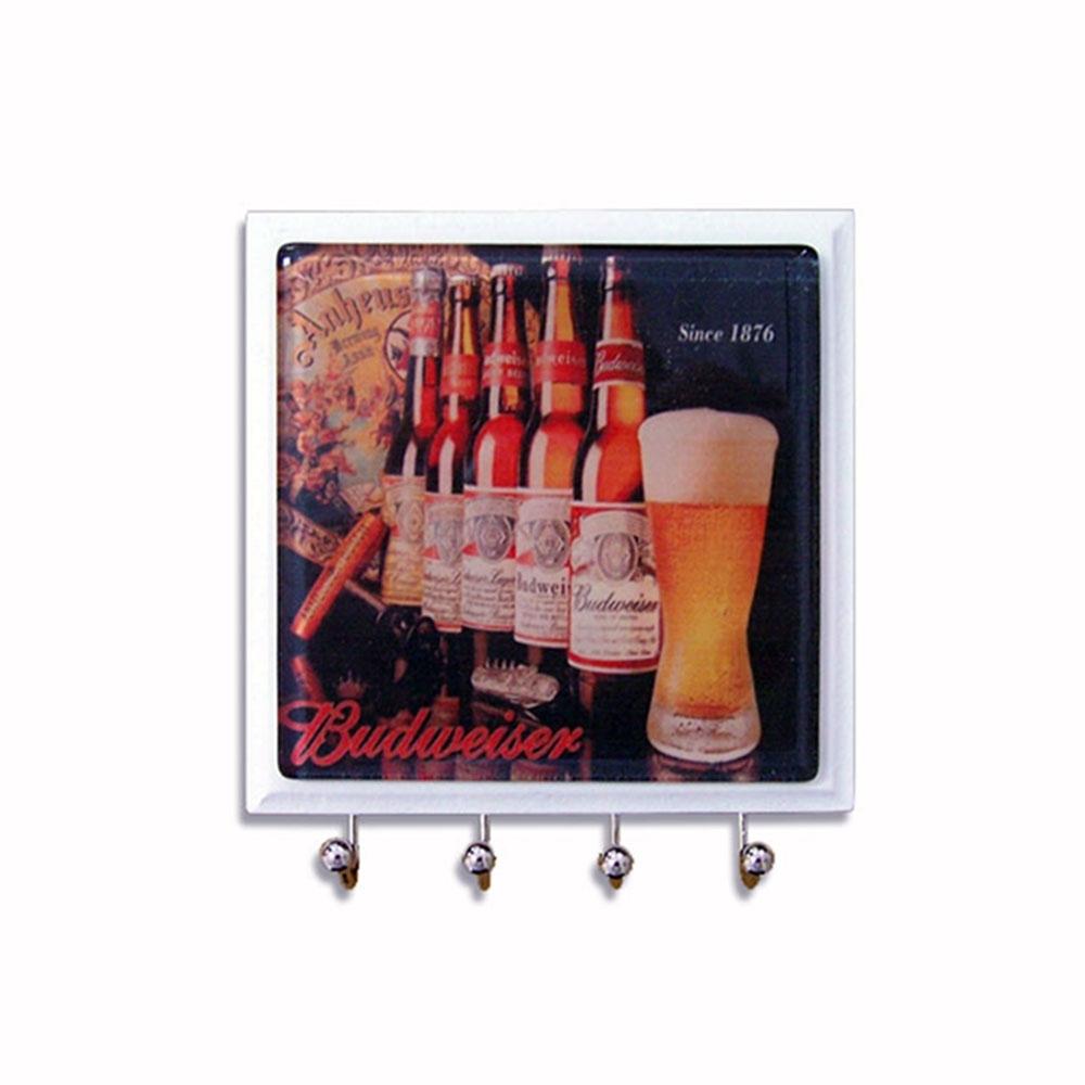 Porta Chaves em Vidro Garrafas Budweiser - Artesanal - Bakar-Bakar