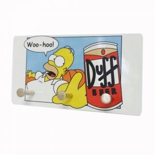 Porta Chaves Duff e Homer em Metal - Artesanal