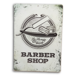 Placa Decorativa em MDF Barber Shop Navalha 20x28cm