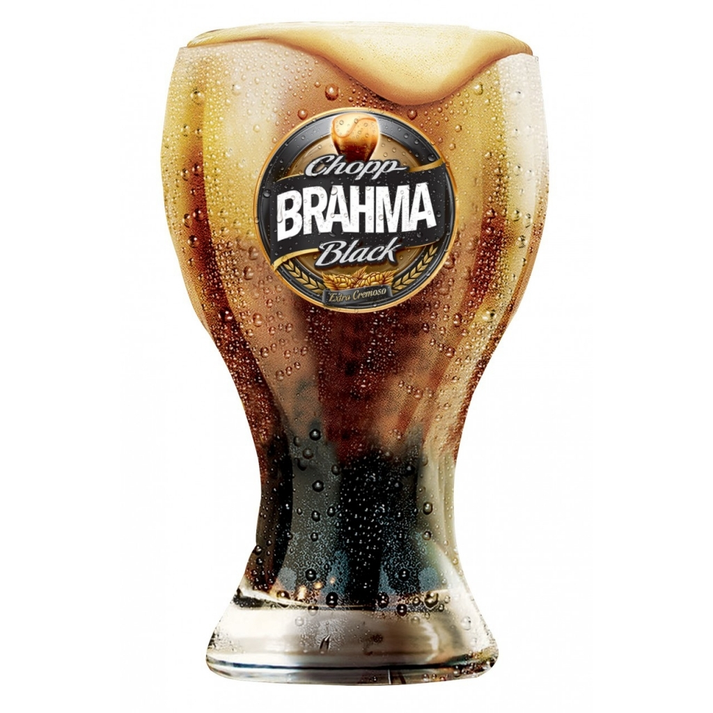 Copo Brahma Black 410ml - Kit com 4 Copos Original - Bakar-Bakar
