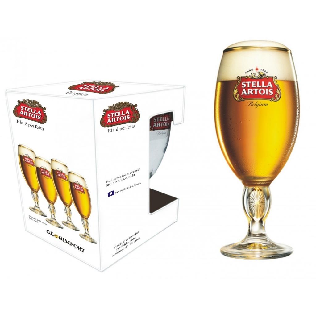 Jogo de Taças Stella Artois Com 4 Cálices 250 ml Ambev - Bakar-Bakar