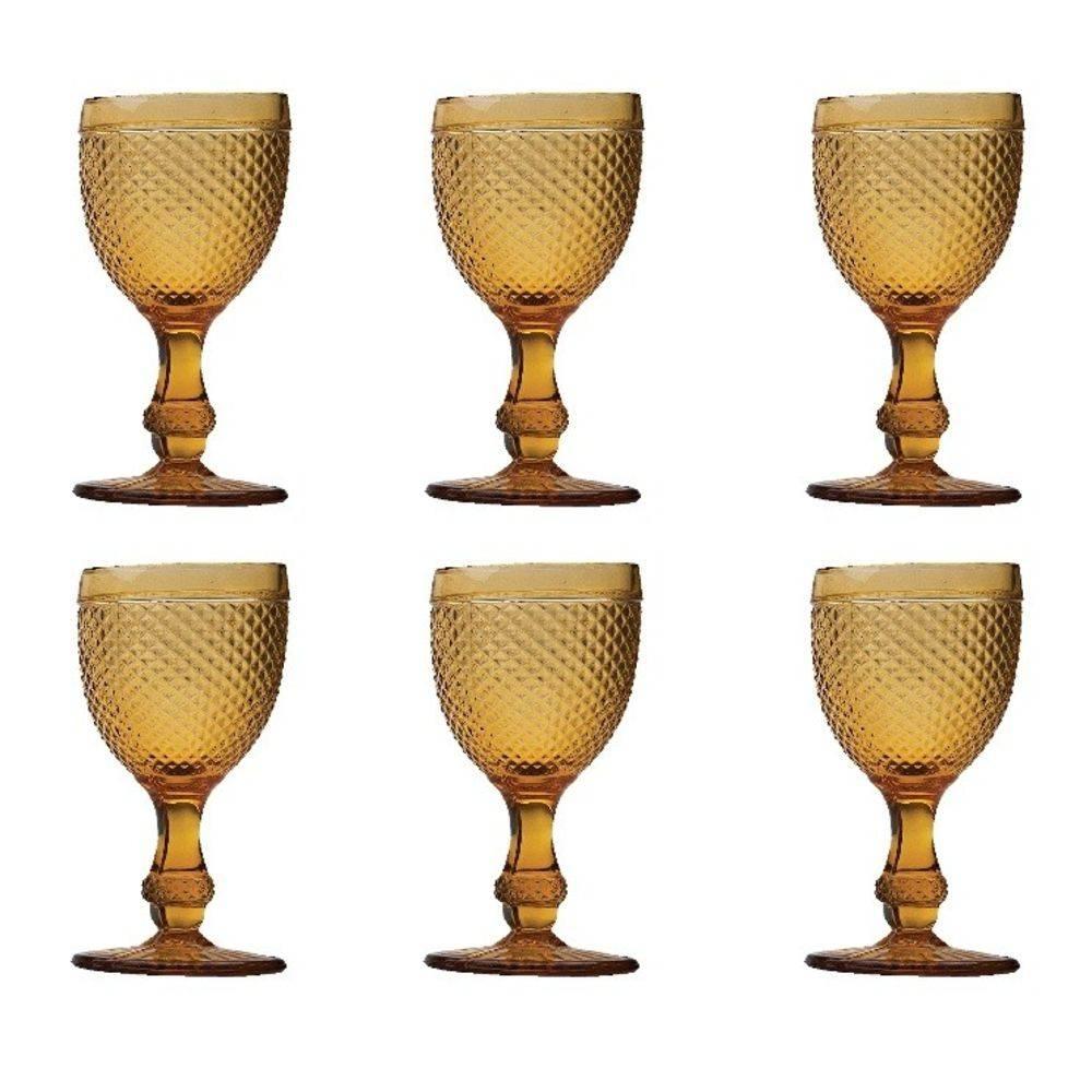 Jogo c/ 6 Taças de Vidro Sodo-Cálcico para água Bico De Jaca Ã'mbar Bon Gourmet - Bakar-Bakar