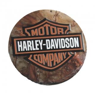 Placa Redonda em MDF Harley Davidson 28cm