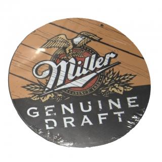 Placa Redonda em MDF Cerveja Miller 28cm