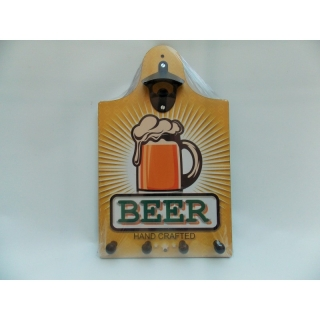 ABRIDOR GARRAFDE PAREDE C/ PORTA CHAVES BEER HAND CRAFTED