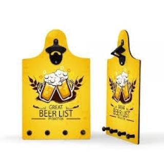 ABRIDOR GARRAFAS PAREDE C/ PORTA CHAVES GREAT BEER LIST