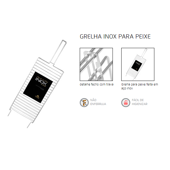 GRELHA DE INOX P/ PEIXE GRILL INOX  25CM X 50CM - Bakar-Bakar