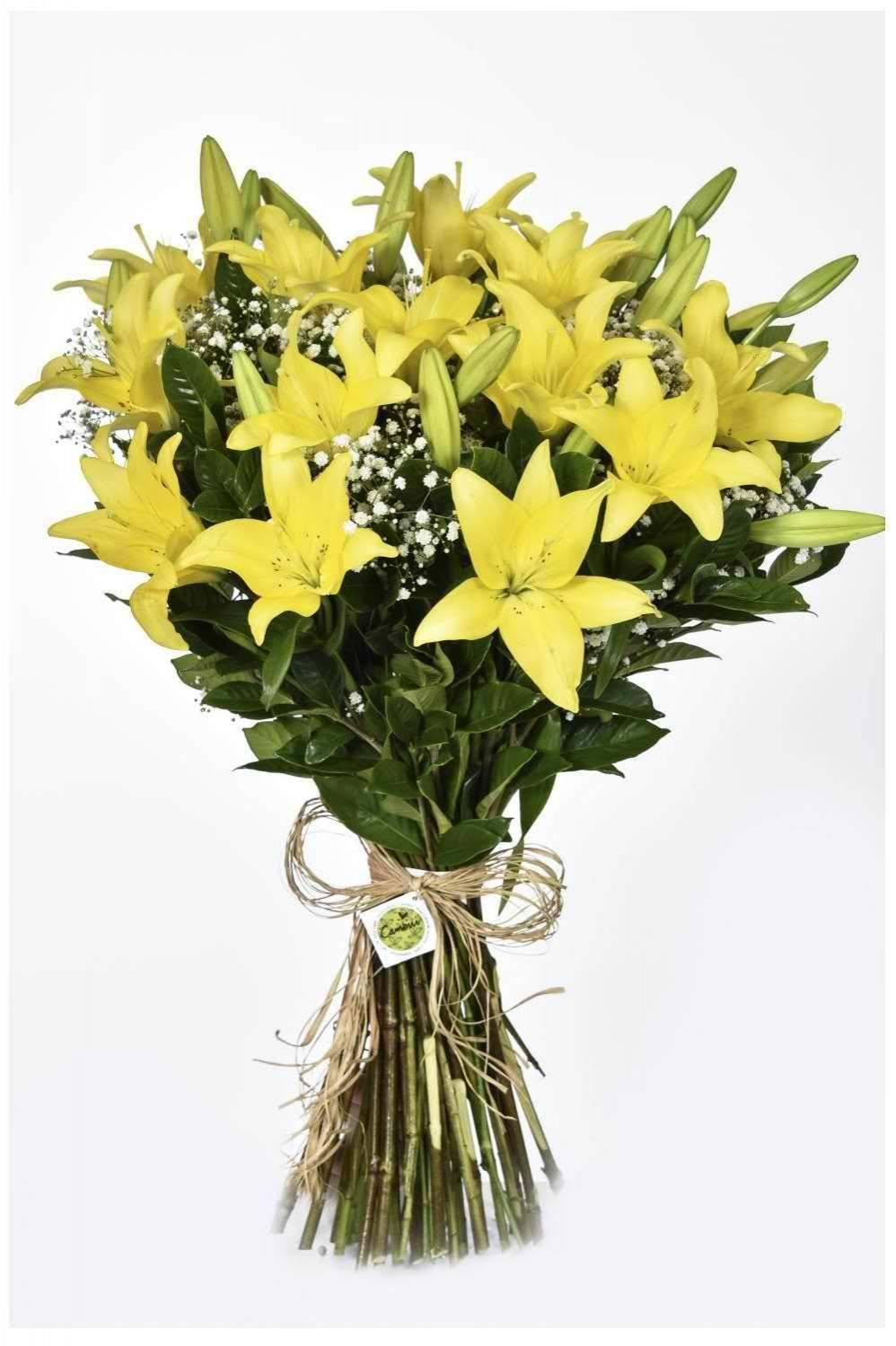 Bouquet Citrino (com madibas brancas) - Floricultura Cambuí
