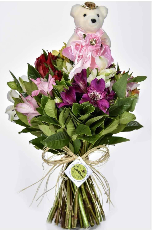 Mini Bouquet Fru-Fru Rosa - Floricultura Cambuí