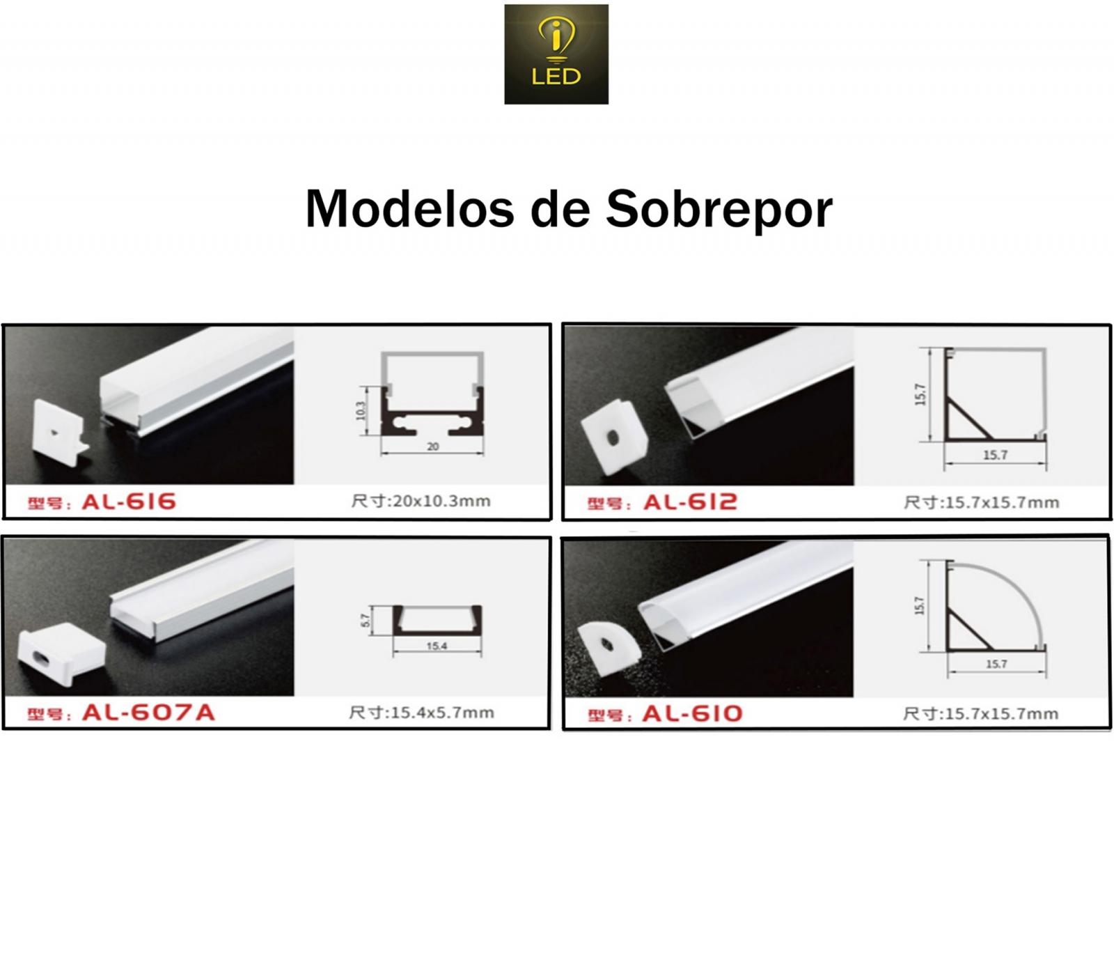 PERFIL SOBREPOR 20X10.3MM 2 METROS DIVERSAS CORES AL-616 - i9 LED