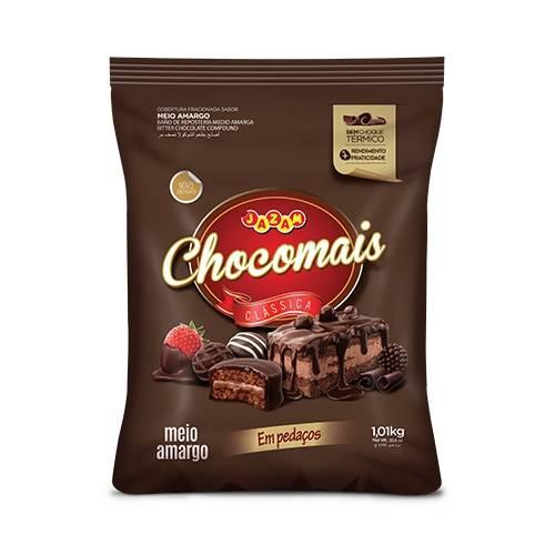 Chocomais Meio Amargo em Pedaços - 1,01kg - Jazam Alimentos