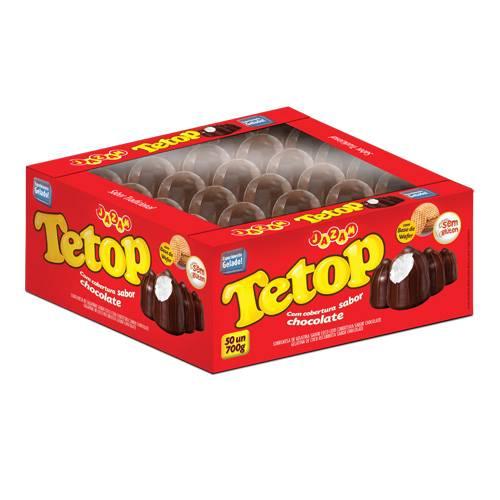 Tetop Chocolate Cx 50 unidades - 700g - Jazam Alimentos