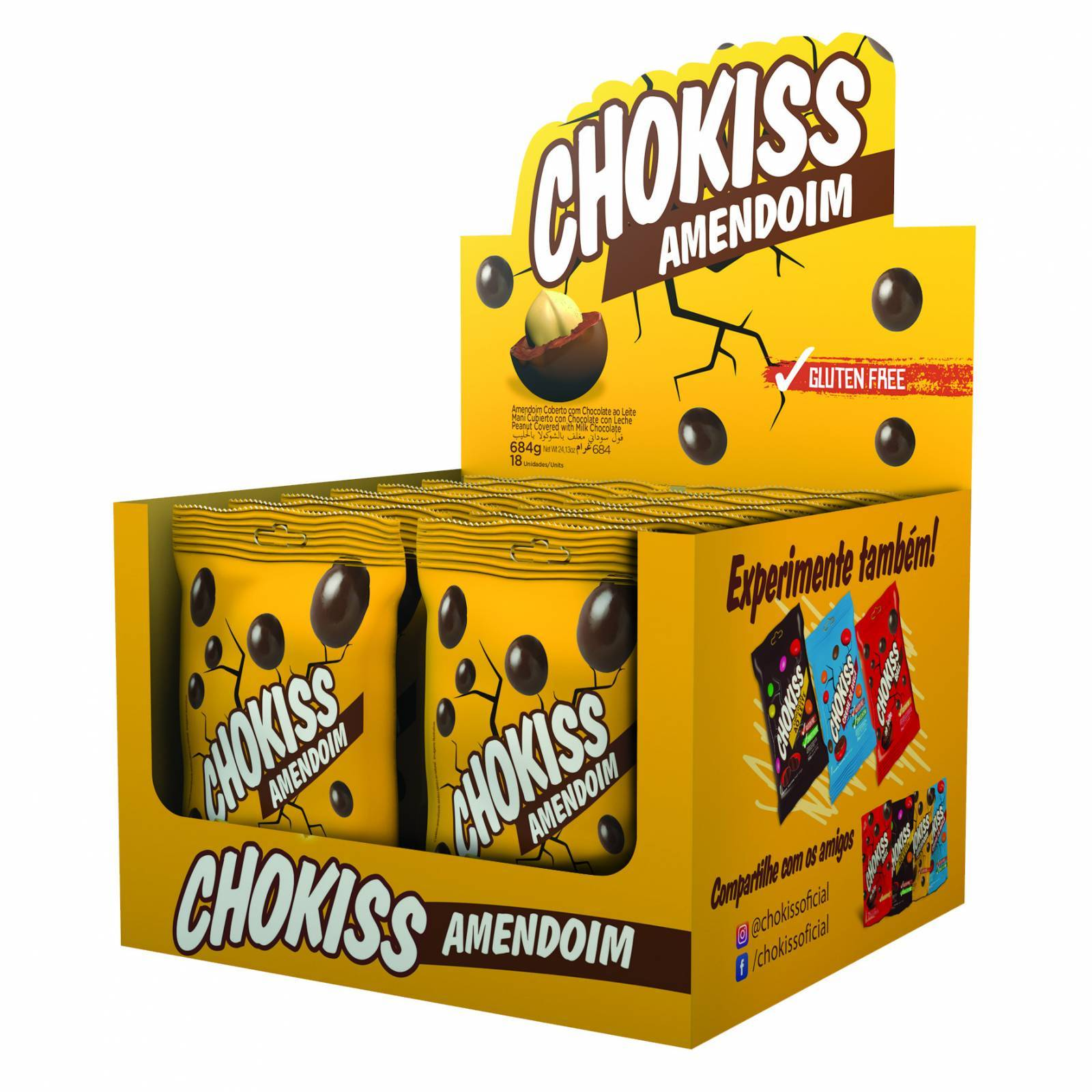 Chokiss Amendoim Display 38g. - Jazam Alimentos