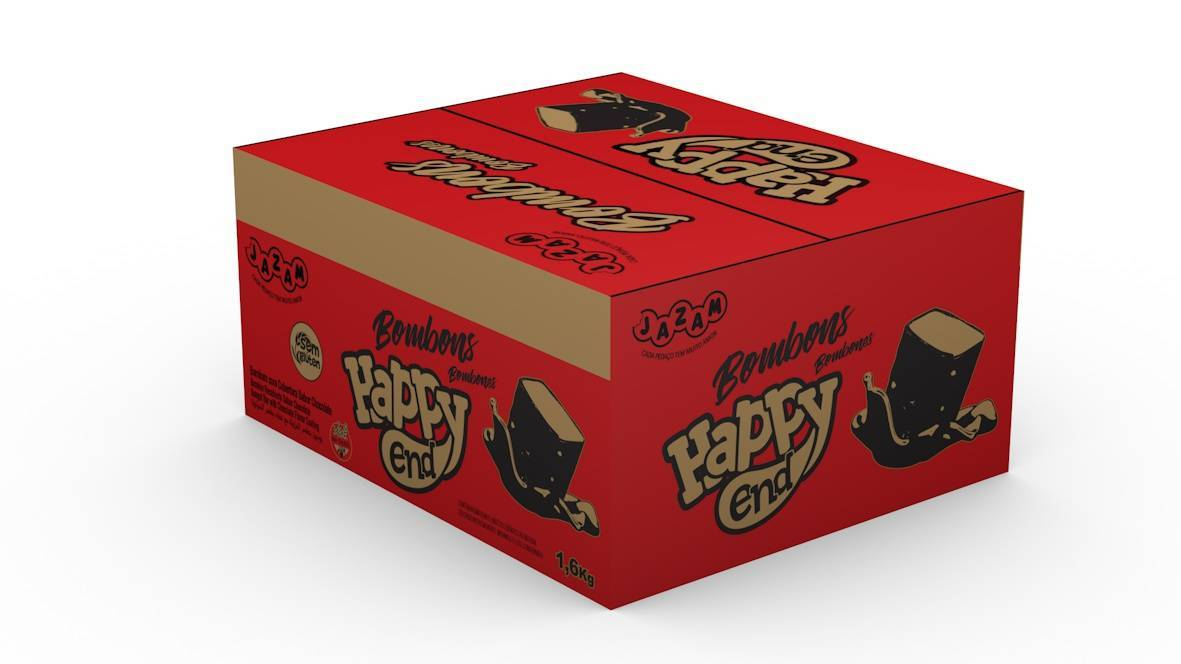 Bombom Happy End Chocolate e Avelã 200 un - 1,6kg - Jazam Alimentos