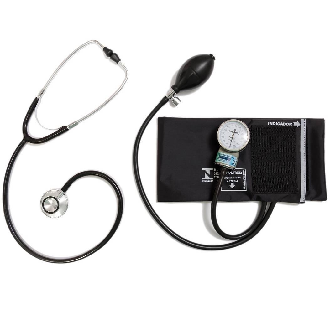 Aparelho de Pressão Adulto Nylon Velcro + Estetoscópio Adulto Duosson - P.A. MED - Soft Care Produtos Médicos