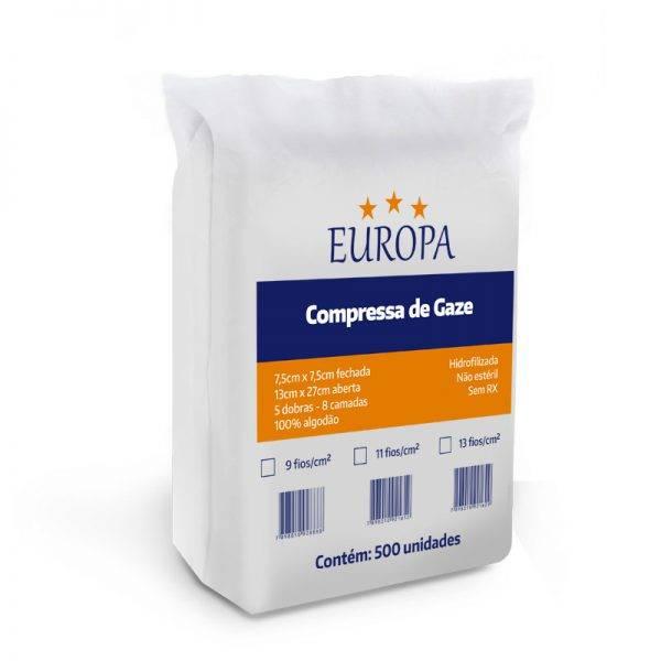Compressa gaze 7,5 x 7,5 c/ 500 un EUROPA - Soft Care Produtos Médicos