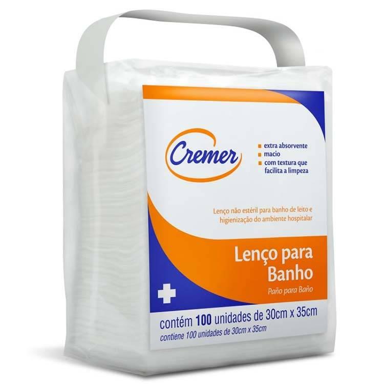 Lenço para Banho 30 x 35cm com 100 und CREMER - Soft Care Produtos Médicos