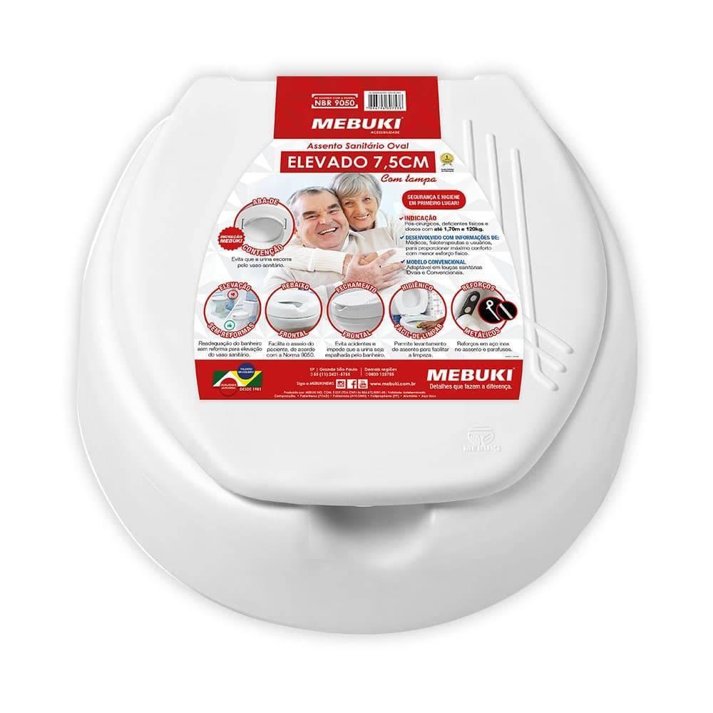 ASSENTO SANIT ELEVADO 7,5CM COM TAMPA MEBUKI - Soft Care Produtos Médicos