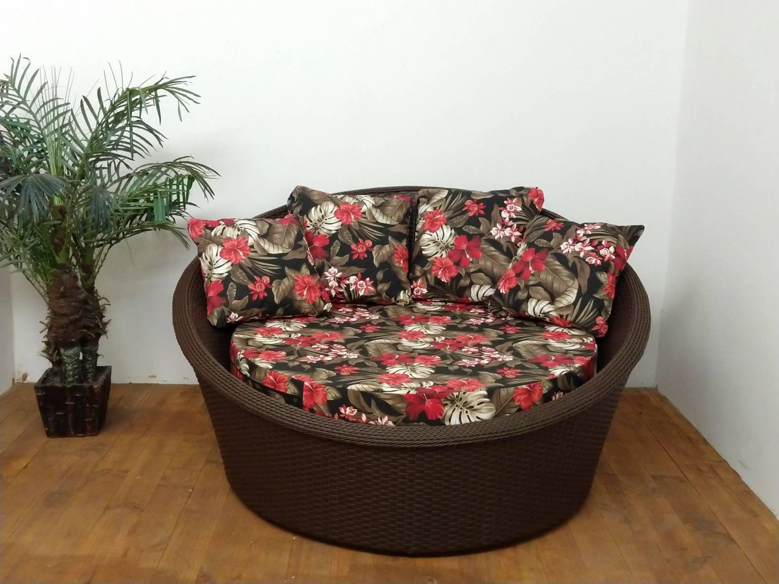 Chaise Redondo 1.50M - Cor Tabaco & Mauí preto - Deck & Decor